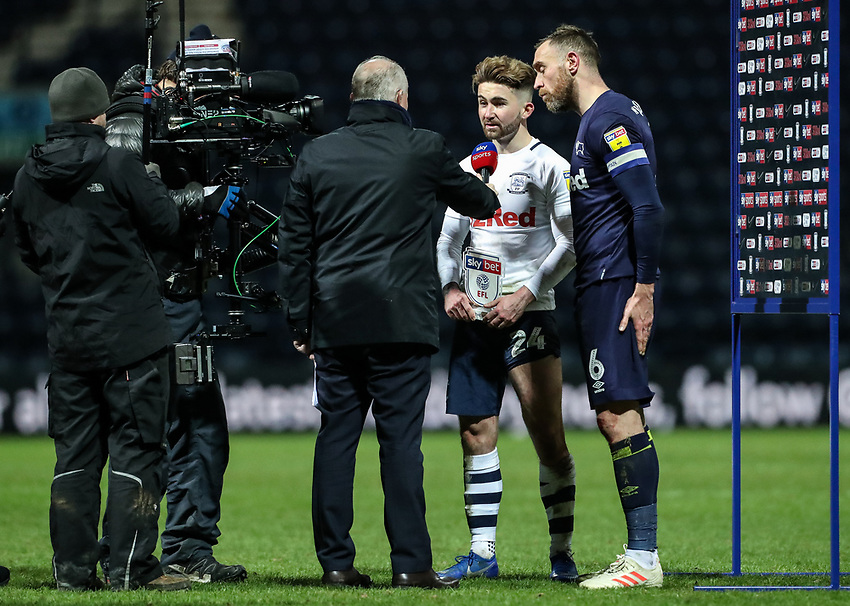 Preston North End's Sean Maguire during his man of the match presentation with Derby County's Richard Keogh  <br /> <br /> Photographer Andrew Kearns/CameraSport<br /> <br /> The EFL Sky Bet Championship - Preston North End v Derby County - Friday 1st February 2019 - Deepdale Stadium - Preston<br /> <br /> World Copyright © 2019 CameraSport. All rights reserved. 43 Linden Ave. Countesthorpe. Leicester. England. LE8 5PG - Tel: +44 (0) 116 277 4147 - admin@camerasport.com - www.camerasport.com
