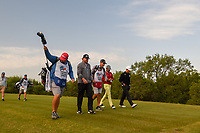 J.B. Holmes (USA), Anirban Lahiri (IND), and Whee Kim (KOR) make their way down 15 during Round 1 of the Valero Texas Open, AT&amp;T Oaks Course, TPC San Antonio, San Antonio, Texas, USA. 4/19/2018.<br /> Picture: Golffile | Ken Murray<br /> <br /> <br /> All photo usage must carry mandatory copyright credit (&copy; Golffile | Ken Murray)