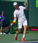Andy Murray (GBR) plays  at the Sony Ericsson Open in Key Biscayne, Florida on March 28, 2012
