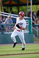 Auburn Doubledays center fielder Cody Wilson (19) running the bases during a game against the Lowell Spinners on July 13, 2018 at Falcon Park in Auburn, New York.  Lowell defeated Auburn 8-5.  (Mike Janes/Four Seam Images)
