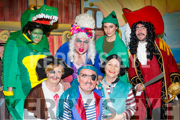 Front, L-R Mary McCarthy, Keith O'Flaherty and Susan Hogan, Back L-R Maizie Hall, Michael O'Dowd, Melissa Ciepierski with Phillip O'Reilly pictured last Saturday night after the 3rd sell out performance of the Pantomime 'Captain Hook Fights Back' by the Castlegregory Amateur Drama Society in the local community hall.