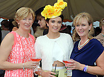 Pictured enjoying the summer fayre on the Ross Hotel / Lane Bar Champagne & Cocktail Marquee at Killarney Races ladies Day on Thursday were from left, Sheila and Aoife O'Donoghue and Helena Randles, Killarney.<br /> Picture by Don MacMonagle<br /> <br /> <br /> PR Photo from Ross Hotel