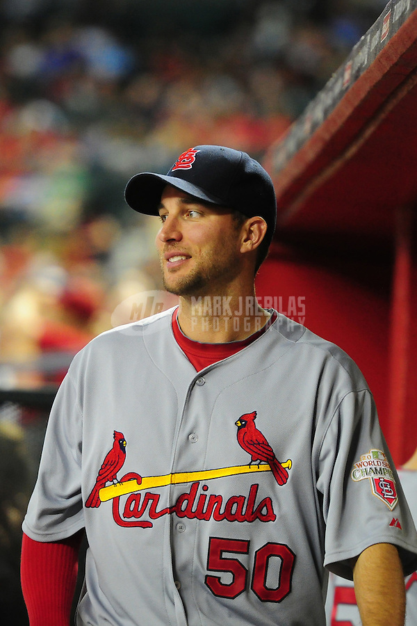 May 8, 2012; Phoenix, AZ, USA; St. Louis Cardinals pitcher Adam Wainwright in the dugout during game against the Arizona Diamondbacks at Chase Field. Mandatory Credit: Mark J. Rebilas-