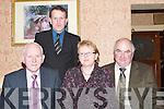 ENJOYING: Enjoying the North Kerry Pioneer Social at Kirbys Lanterns Hotel, Tarbert, on Friday night were front l-r: Matt OConnor (Liana), Madeline and Brendan Allman (Listowel) and Eamon Canty (Back)..