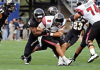 Florida International University football player defensive line James Jones (94) plays against the University of Louisiana-Lafayette on September 24, 2011 at Miami, Florida. Louisiana-Lafayette won the game 36-31. .