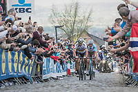 Peter Sagan (SVK/Bora-Hansgrohe)<br /> up the Oude Kwaremont for the 3rd &amp; final time<br /> <br /> 101th Ronde Van Vlaanderen 2017 (1.UWT)<br /> 1day race: Antwerp &rsaquo; Oudenaarde - BEL (260km)