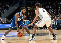 WASHINGTON, DC - FEBRUARY 05: Myles Powell #13 of Seton Hall dribbles up to Jagan Mosely #4 of Georgetown during a game between Seton Hall and Georgetown at Capital One Arena on February 05, 2020 in Washington, DC.