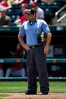 Home Plate Umpire Brandon Misun during a game between the San Antonio Missions and the Springfield Cardinals on May 30, 2011 at Hammons Field in Springfield, Missouri.  Photo By David Welker/Four Seam Images.