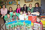 STORIES: Some of the parents and children at Coars NS in Cahersiveen who took part in the Story Sacks event at the school on Friday last.
