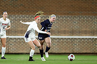 CHAPEL HILL, NC - NOVEMBER 16: A.B. Hawkins #8 of Belmont University and Aleigh Gambone #16 of the University of North Carolina challenge for the ball during a game between Belmont and North Carolina at UNC Soccer and Lacrosse Stadium on November 16, 2019 in Chapel Hill, North Carolina.