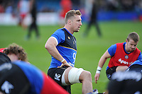 Dominic Day of Bath Rugby looks on during the pre-match warm-up. European Rugby Champions Cup match, between Bath Rugby and RC Toulon on January 23, 2016 at the Recreation Ground in Bath, England. Photo by: Patrick Khachfe / Onside Images