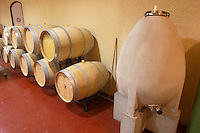 Egg shaped tank used in hot years for sauvignon blanc chateau fieuzal pessac leognan graves bordeaux france