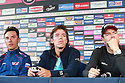 Giro d'Italia Big Start (Grande Partenza) top riders gather for a press conference at Belfast's Waterfront Hall, Belfast, Northern Ireland, Friday 9th May, 2014.  Seen left to right, Rigoberto Uran and Cadel Evans. Ireland will host three days of cycling action from 9 to 11 May 2014.