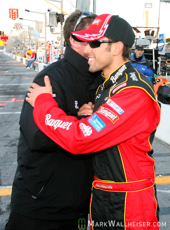 Aric Almiralo, is congratulated after qualifying for the pole position for the NASCAR Bush Series Orbitz 300 Friday February 16, 2007.    (Mark Wallheiser/TallahasseeStock.com)