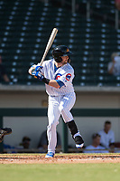 Mesa Solar Sox third baseman Trent Giambrone (27), of the Chicago Cubs organization, at bat during an Arizona Fall League game against the Peoria Javelinas at Sloan Park on October 11, 2018 in Mesa, Arizona. Mesa defeated Peoria 10-9. (Zachary Lucy/Four Seam Images)