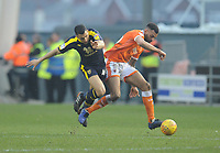Blackpool's Curtis Tilt under pressure from Oxford United's Ahmed Kashi<br /> <br /> Photographer Kevin Barnes/CameraSport<br /> <br /> The EFL Sky Bet League One - Blackpool v Oxford United - Saturday 23rd February 2019 - Bloomfield Road - Blackpool<br /> <br /> World Copyright © 2019 CameraSport. All rights reserved. 43 Linden Ave. Countesthorpe. Leicester. England. LE8 5PG - Tel: +44 (0) 116 277 4147 - admin@camerasport.com - www.camerasport.com