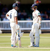 Joe Denly (L) and Sam Billings in discussion during the County Championship Division 2 game between Kent and Middlesex at the St Lawrence Ground, Canterbury, on June 25, 2018
