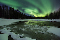Northern lights over the Chena River in interior Alaska.