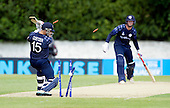 ICC World T20 Qualifier - GROUP B MATCH - SCOTLAND V UAE at Grange CC, Edinburgh - the end for Kyle Coetzer off UAE bowler Mohammad Naveed for 39 — credit @ICC/Donald MacLeod - 09.07.15 - 07702 319 738 -clanmacleod@btinternet.com - www.donald-macleod.com