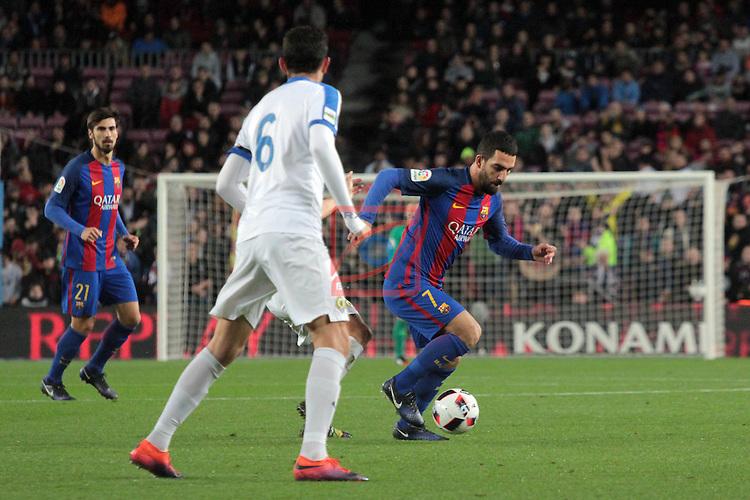 Copa del Rey 2016/2017. 1/16 Final-Vuelta.<br /> FC Barcelona vs Hercules CF: 7-0.<br /> Rojas vs Arda Turan.