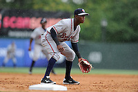 Center fielder Erison Mendez (9) of the Rome Braves plays the infield in a game against the Greenville Drive on Sunday, June 14, 2015, at Fluor Field at the West End in Greenville, South Carolina. Rome won, 5-2. (Tom Priddy/Four Seam Images)