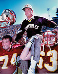 Florida State's Bobby Bowden takes a ride on his player's shoulders after the Seminoles defeated LSU 42-3 giving Bowden his 200th victory in Tallahassee, Florida October 27, 1990. (Mark Wallheiser/TallahasseeStock.com)