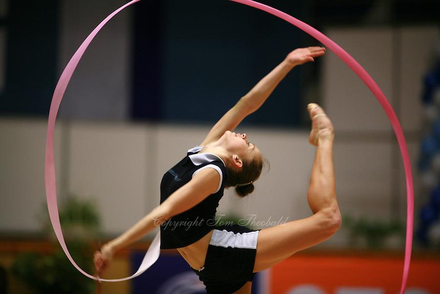 Marina Shpekt of Russia her trains ribbon routine before Burgas Grand Prix Rhythmic Gymnastics on May 5, 2006.  (Photo by Tom Theobald)