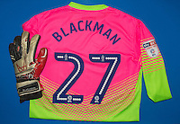 Goalkeeper Jamal Blackman of Wycombe Wanderers shirt & glove during the Sky Bet League 2 match between Wycombe Wanderers and Yeovil Town at Adams Park, High Wycombe, England on 14 January 2017. Photo by Andy Rowland / PRiME Media Images.