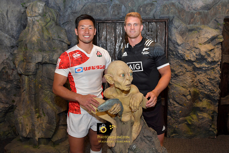 Japan Sevens Captain Yoshiaki Tsurugasaki and All Black Sevens captain Scott Curry, Wellington Sevens - Captains Photo at Weta workshop, Wellington, New Zealand on Thursday 26 January 2017.<br /> Photo by Masanori Udagawa<br /> www.photowellington.photoshelter.com.