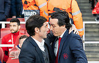 Arsenal's manager Unai Emery and Valencia manager Marcelino before  the UEFA Europa League Semi-Final 1st leg match between Arsenal and Valencia at the Emirates Stadium, London, England on 2 May 2019. Photo by Andrew Aleksiejczuk / PRiME Media Images.