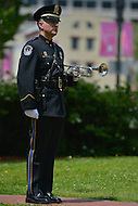 May 10, 2013  (Washington, DC)  U.S. Capitol police officer Paul Lindenmann stands at attention during a ceremony at the Washington Area Law Enforcement Memorial.  (Photo by Don Baxter/Media Images International)