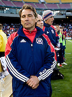 Chicago Fire head coach Carlos de los Cobos watches his team before the game at RFK Stadium in Washington, DC.  The Chicago Fire defeated DC United, 2-0.