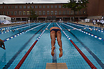 30.7.2015, Berlin Olympic Park. Competitions during the 14th European Maccabi Games. Swimmer Jonathan Ben-Schlomo prepares for a heat.