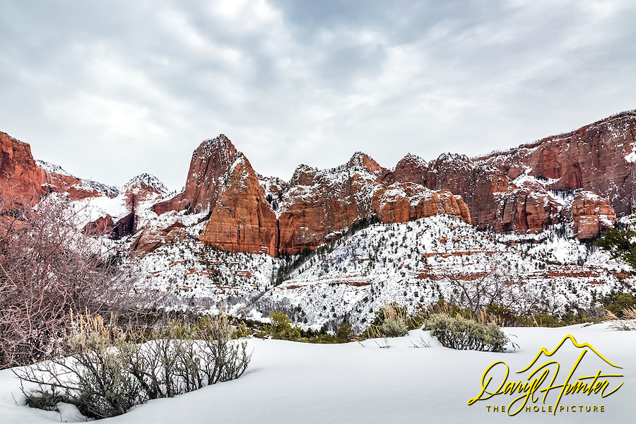 A  snowy Kolob Canyon in Zion National Park.