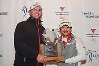 Haru Nomura (JPN) and caddie, Jason McDede with the trophy for winning the Volunteers of America Texas Shootout Presented by JTBC, at the Las Colinas Country Club in Irving, Texas, USA. 4/30/2017.<br /> Picture: Golffile | Ken Murray<br /> <br /> <br /> All photo usage must carry mandatory copyright credit (&copy; Golffile | Ken Murray)