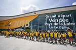The headquarters of the 105th edition of the Tour de France are open in Mouilleron-le-Captif, the hometown of Thomas Voeckler in the outskirts of La Roche-sur-Yon, the prefecture of the Vend&eacute;e province. The 23000 square-meters Vend&eacute;space hosts the operations of the Grand D&eacute;part as well as the media centre for the three days preceding Stage1. 4th July 2018. <br /> Picture: ASO/Pauline Ballet | Cyclefile<br /> All photos usage must carry mandatory copyright credit (&copy; Cyclefile | ASO/Pauline Ballet)