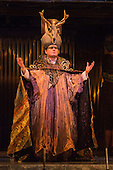 London, UK. 2 March 2016. Pictured: Colin Judson as High Priest of Amon. English National Opera (ENO) dress rehearsal of the Philip Glass opera Akhnaten at the London Coliseum. 7 performances from 4  to 18 March 2016. Directed by Phelim McDermott with Anthony Roth Costanzo as Akhnaten, Emma Carrington as Nefertiti, Rebecca Bottone as Queen Tye, James Cleverton as Horemhab, Clive Bayley as Aye, Colin Judson as High Priest of Amon and Zachary James as Scribe. Skills performances by Gandini Juggling.