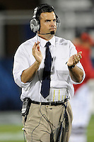 5 December 2009:  FIU Head Coach Mario Cristobal encourages his team in the first half as the Florida Atlantic University Owls defeated the FIU Golden Panthers, 28-21, in the annual Shula Bowl game at FIU Stadium in Miami, Florida.