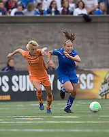 Sky Blue FC defender Daphne Koster (4) and Boston Breakers forward Lauren Cheney (8) both accelerate for a loose ball. Sky Blue FC defeated the Boston Breakers, 2-1, at Harvard Stadium on June 13, 2010.