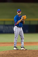 AZL Rangers relief pitcher Erne Valdes (33) gets ready to deliver a pitch during an Arizona League playoff game against the AZL Cubs 1 at Sloan Park on August 29, 2018 in Mesa, Arizona. The AZL Cubs 1 defeated the AZL Rangers 8-7. (Zachary Lucy/Four Seam Images)