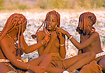 Namibia: Himba teenage girls near Opowu in Kaokaland