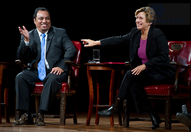 "September 28, 2011; Participants Juan Rangel, CEO for the United Neighborhood Organization and Randi Weingarten, president of the American Federation of Teachers, AFL-CIO during their discussion titled, ""The Conversation: Developing the Schools Our Children Deserve"" part of the 2011-12 Notre Dame Forum at the Leighton Concert Hall. Photo by Barbara Johnston/University of Notre Dame"
