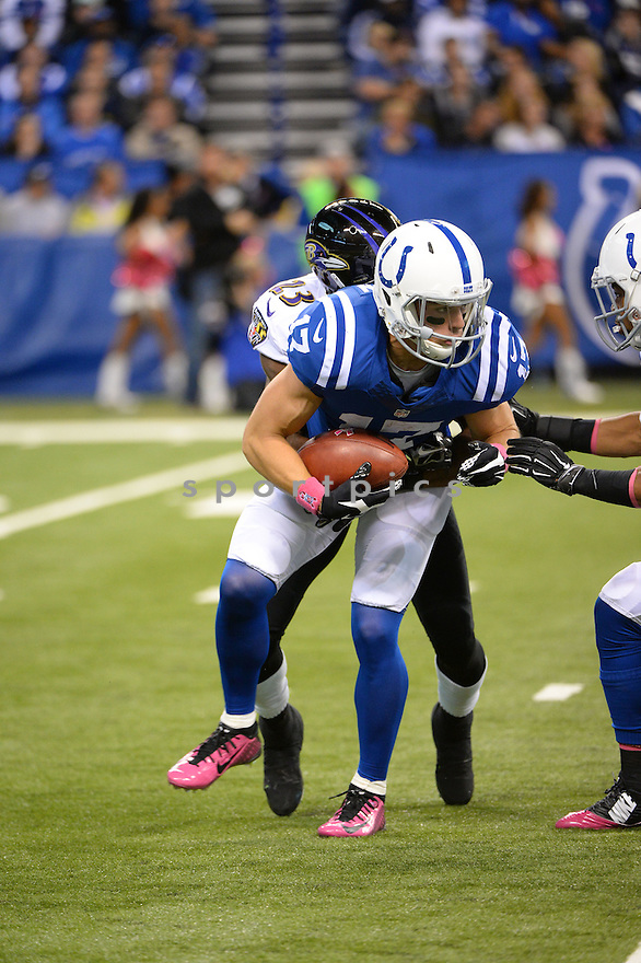 Indianapolis Colts Griff Whalen (17) during a game against the Baltimore Ravens on October 5, 2014 at Lucas Oil Stadium in Indianapolis, IN. The Colts beat the Ravens 20-13.