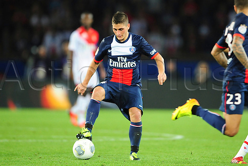 23.09.2013 Paris, France. Marco Verratti (PSG) during the French Ligue One game between Paris Saint-Germain and AS Monaco from the Parc des Princes.