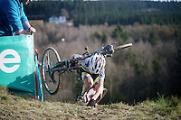 Jolien Verschueren (BEL/Decock Woningbouw) on top of &quot;Le Mur&quot; de Francorchamps (50% gradient!)<br /> <br /> Superprestige Francorchamps 2014