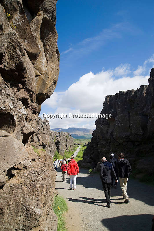 Fissure Separating European and North American Tectonic Plates at Thingvellir in South Iceland