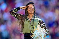 Landover, MD - November 4, 2018: Washington Redskins cheerleader salutes the troops during game between the Atlanta Falcons and the Washington Redskins at FedEx Field in Landover, MD. The Falcons defeated the Redskins 38-13. (Photo by Phillip Peters/Media Images International)