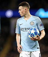 Manchester City's Phil Foden<br /> <br /> Photographer Rich Linley/CameraSport<br /> <br /> UEFA Champions League Group F - Manchester City v TSG 1899 Hoffenheim - Wednesday 12th December 2018 - The Etihad - Manchester<br />  <br /> World Copyright © 2018 CameraSport. All rights reserved. 43 Linden Ave. Countesthorpe. Leicester. England. LE8 5PG - Tel: +44 (0) 116 277 4147 - admin@camerasport.com - www.camerasport.com