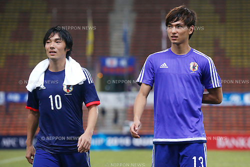 (L-R) Shoya Nakajima, Takumi Minamino (JPN), MARCH 29, 2015 - Football / Soccer : AFC U-23 Championship 2016 Qualification Group I match between U-22 Japan 2-0 U-22 Vietnam at Shah Alam Stadium in Shah Alam, Malaysia. (Photo by Sho Tamura/AFLO SPORT)