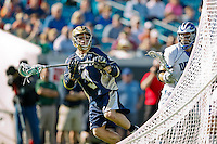 February 20, 2011:   Notre Dame attack Edison Parzanese (9) during Lacrosse action between the Duke Blue Devils and Notre Dame Fighting Irish during the Moe's Southwest SunShine Classic played at EverBank Field in Jacksonville, Florida. Notre Dame defeated Duke 12-7.